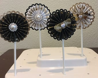12 black and gold and pearl wedding mr and mrs paper rosette cupcake topper