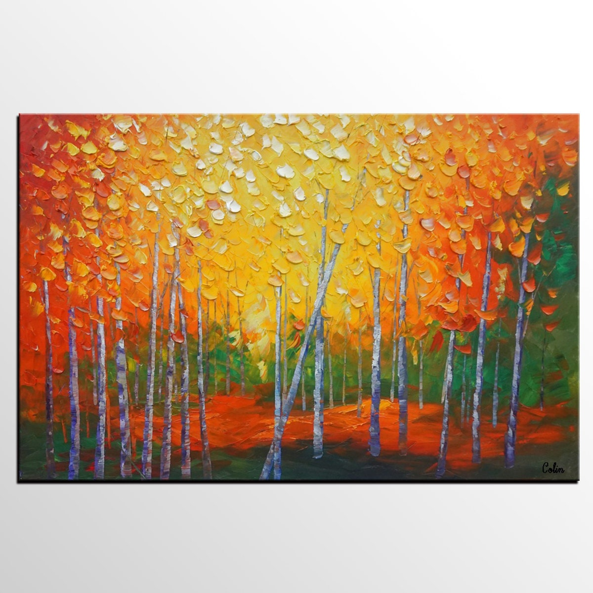 Oil painting landscape painting canvas art original art for Dining room wall art canvas
