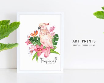 Tropical Watercolor Illustration/ Art Print/ Poster Card/ Home decor/ Printable DIY (Digital File JPEG)