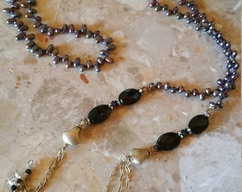 Purple Pearl and Onyx Lasso Necklace