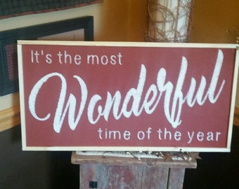 Christmas painted wood sign