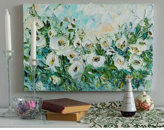 White Flower Oil Painting Palette Knife Art White Rose Impasto Abstract Flowers Bush with Roses Peony Blue Green White Art Sky and Flowers