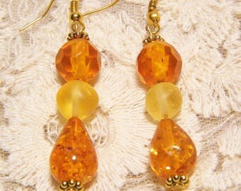 Three Stone Lemon and Honey Colored Amber Earrings with Gold Tone Accents