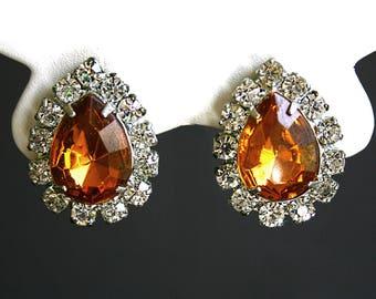 Vintage amber rhinestone earrings teardrop earrings topaz clip on earrings