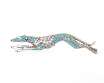 Greyhound Brooch Turquoise Crystal Silver