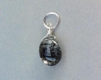 Sm Tourmalated Quartz Necklace, Tourmalated Quartz Pendant,Black Rutilated Quartz, Sterling Silver, tourmalated quartz, natural gemstone