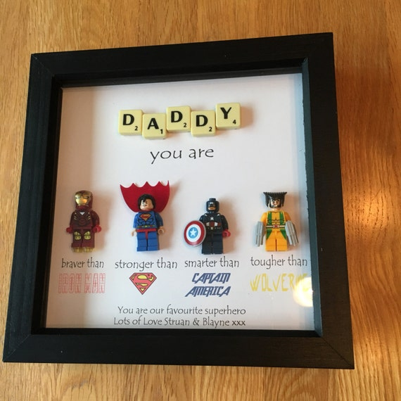 Daddy Superhero Frame Personalised Made To Order Including