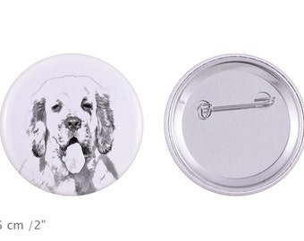 Buttons with a dog - Clumber Spaniel