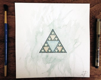 Sierpinski Triangle - Watercolor Print