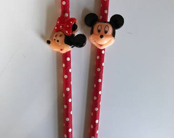 Set of Twelve Disney Inspired Mickey & Minnie Mouse Party Straws