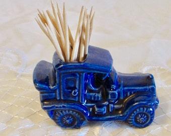 Blue Antique Car Toothpick Holder, Ceramic Glazed Match Holder, Made in Japan Glazed Pottery Toothpick Holder, Model T Car Collector