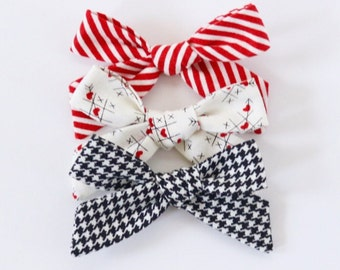 Cross My Heart Fabric Hand Tied Hair Bow Hair Clip Set // Valentine Hair Bows // Red Stripes, Tic Tac Toe, Black Houndstooth