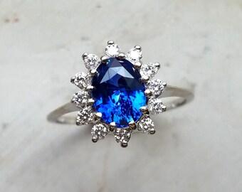 Sapphire diamond engagement ring, Sapphire diamond halo ring, Princess Diana ring, Sapphire diamond white gold ring, genuine sapphire ring