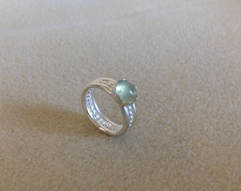 Green Prehnite and Sterling silver triple fancy wide band ring