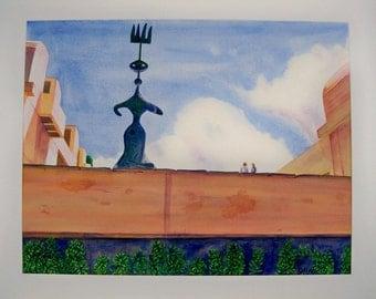 Miró sculpture watercolor painting 21 x 27