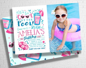Pool Party Birthday Invitation | Girl's Birthday Pool Party |  Splish Splash | Pool Party Invitation | Summer Birthday | DIGITAL FILE ONLY