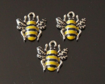 10x Silver Yellow Black Enamel Wasp Bumble Honey Bee Insect Charm Pendant 17mm (TSC128)