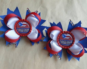 Puerto Rican Princess hair bows. Set of 2. Perfect for piggy tails :)