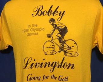 Vintage 1988 Bobby Livingston Olympics t shirt Cycling *S