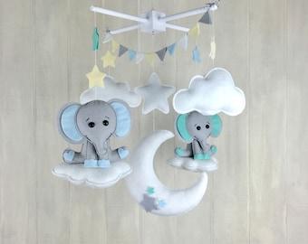 Baby mobile / elephant mobile - nursery decor  - twin mobile - star mobile - cloud mobile - moon mobile