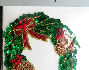 Sewing supplies,appliques,Christmas,Christmas Wreath,Sequins