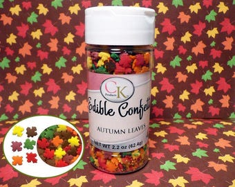 Autumn Leaves  2.2 oz. Edible Confetti Sprinkles Cake Cupcake Cookies Ice Cream Halloween Thanksgiving Fall Quins