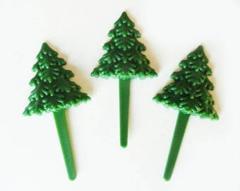 24 Green Christmas Tree Evergreen Cupcake Picks Cake Toppers Decorations Christmas Holiday