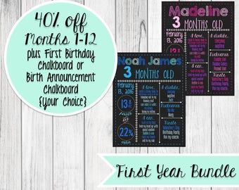 Baby Monthly Chalkboard Made to Order *Yearlong Bundle*
