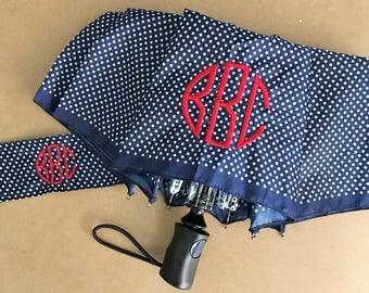 Monogrammed Umbrella - Able to Personalize! Solid Black - Polka Dots - Vines - Stripes - Mod Flowers - Colored Dots - Windowpane