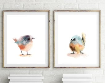Fine Art Print Set of Birds, minimalist painting art, set of 2 prints, watercolor painting print, bird art, modern wall art