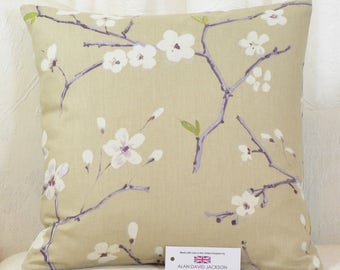 "Prestigious Emi Amethyst Cushion Cover 17""x17"" (43cm sq.) Beige Purple Lilac White Floral"