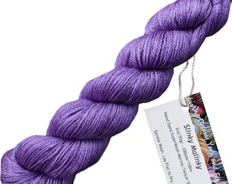Slinky Malinky SUPERWASH MERINO TENCEL Blend Wool Sock Yarn for Knitting Weaving Crochet. Semi Solid Hand Dyed by Living Dreams, Lilac