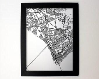 Newport News Map / Laser Cut Map / Newport News VA / Newport News Map / Newport News Virginia / Framed Map / Wedding Gift / Anniversary Gift
