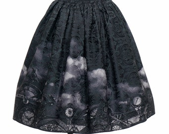Exclusive Designer Fashion, Neo-ludwig Machine Birdcage, Gothic Steampunk Retro Patterned Jacquard Cotton Knee Length Skirt