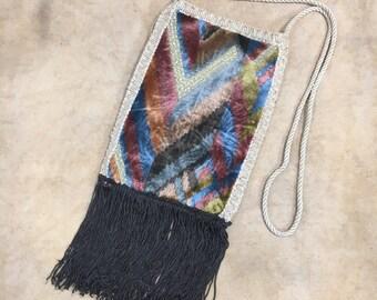 Vintage Carpetbags of America Purse Fringe Handbag Hippie Boho Satchel Velvet Stripe