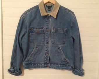 Ralph Lauren Denim Jacket Corduroy Collar Vintage Denim Jacket Womens Jacket Womens Denim Jacket Ralph Lauren Jacket Vintage Ralph Lauren