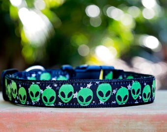 Alien Invasion Dog Collar, boy dog collar, Dog Collars Australia / XS-XL