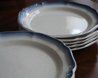 Mikasa COUNTRY CLUB French Blue Trim on Biscuit White Finish Dinner Plates (2)!