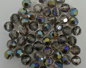 Swarovski 6mm Round (5000) Faceted Crystal Beads - IRIDESCENT GREEN - Select 10, 20 or 50 Beads