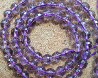 "Natural Amethyst Faceted Round Beads, 6mm - 16.1"" Strand"