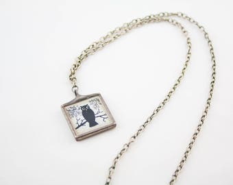 Vintage Silver Tone Chain Square Owl Mirror Pendant Necklace