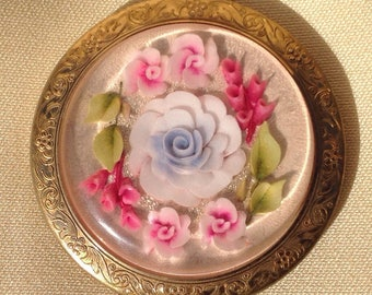 Reverse cut lucite compact flowers compact 1950's compact mirror vintage compact lucite flowers compact loose powder compact pink roses blue