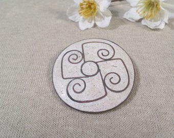 Vintage Mexican Inlay Sandstone Taxco Silver Brooch Signed ER  DL# 2407