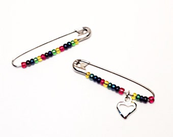Large LGBT Rainbow Solidarity Safety Pin, Inspirational Solidarity Rainbow Heart Safety Pin, LGBTQ Support Pin Pride, LGBT, resist persist