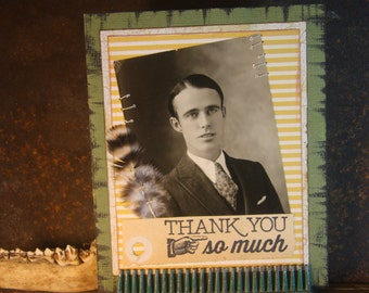 Victorian Thank You Card // Hand Sewn Card // Handmade Card // Antique Photograph // Feather // Blank Card // Thanks // Thank You Card