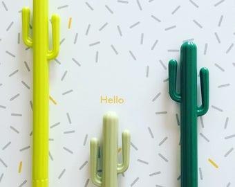 Cactus Gel Pen, Succulent Cacti Pen, Kawaii Black Ink Pen, Kawaii Stationery, Stationery Supplies, Fine Point Pen, Quirky Cactus Gift
