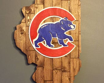 Chicago Cubs Planked Illinois State Wood Logo 3D Wall Art/Birthday/Father's Day/Baseball/Boyfriend/Husband/Sports Fan