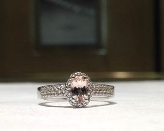 1.00 Carat Natural Genuine Oval Morganite & White Sapphire Ring in 925 Sterling Silver with 14K White Gold Finish