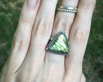 RESERVED* Labradorite Ring, Sterling and Fine Silver, Handmade, Size 7