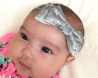 Sparkly Silver Bow Headband